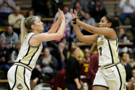Purdue guards Dominique Oden (11) and Karissa McLaughlin (1) celebrate a basket during the first quarter of an NCAA women's basketball game, Sunday, Jan. 19, 2020 at Mackey Arena in West Lafayette.