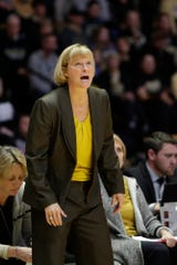 Purdue head coach Sharon Versyp reacts during the third quarter of a NCAA women's basketball game, Sunday, Jan. 19, 2020 at Mackey Arena in West Lafayette.