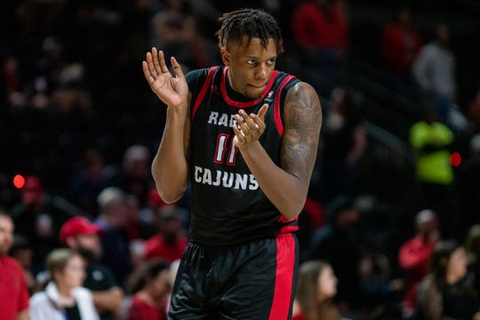 UL's Tirus Smith celebrates after a play during Saturday night's loss to Texas State at Cajundome.