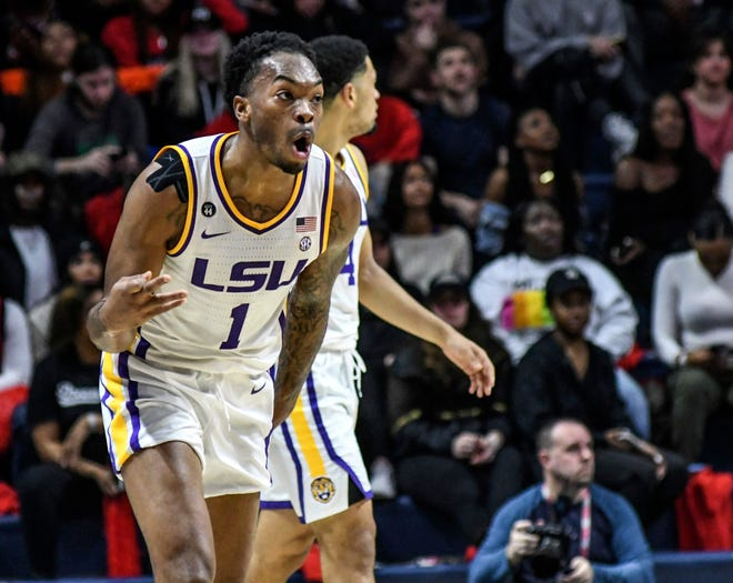 LSU guard Javonte Smart (1) celebrates a three-point basket against Mississippi during an NCAA college basketball game in Oxford, Miss., Saturday, Jan. 18, 2020. (Bruce Newman/The Oxford Eagle via AP)