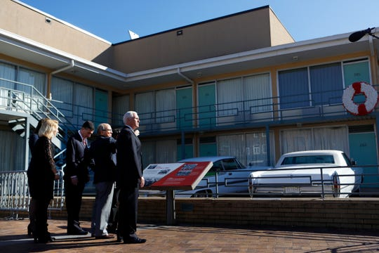 Vice President Mike Pence takes a tour of the National Civil Rights Museum in Memphis Sunday morning during a one-day trip in honor of the Rev. Martin Luther King, Jr.