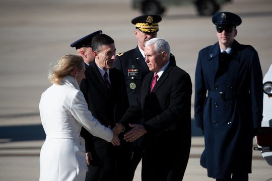 Vice President Mike Pence and U.S. Rep. David Kustoff greet supporters at Memphis International Airport on Sunday, Jan. 19, 2020.