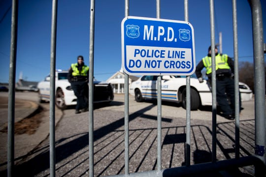 Memphis Police stand behind barricades Sunday, Jan. 19, 2020, near Holy City Church of God in Christ church in Memphis. MPD is buying new equipment that will let it access cell phones without permission.