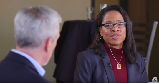 """Donna Childs talks with NBC News reporter Dante Chinni on """"Meet the Press"""" for a focus group of five Milwaukee County African-American Democratic voters on the 2020 presidential race as part of NBC News' yearlong County to County project."""