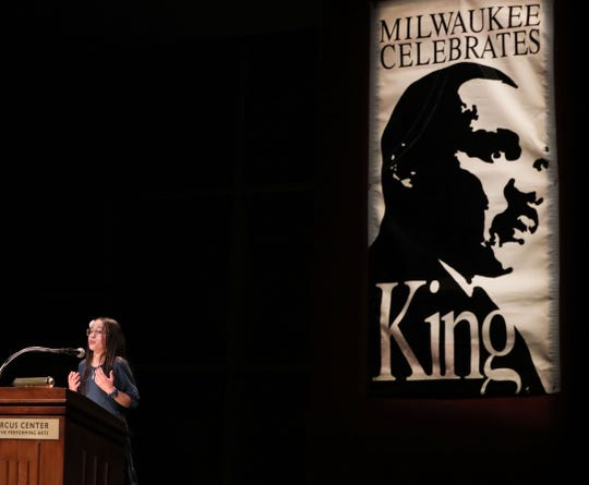 "The 36th Annual Dr. Martin Luther King Jr. Birthday Celebration on Sunday featured speeches from Milwaukee students inspired by King's ""What is your life's blueprint."" Here, Abigail Cashman of Golda Meir School gives her winning speech at the Marcus Center for Performing Arts."