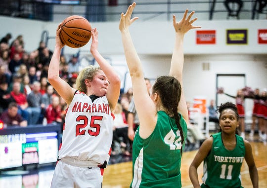 FILE -- Wapahani's Camryn Wise squares up against a Yorktown defender during their county championship game at Delta High School Saturday, Jan. 18, 2020.