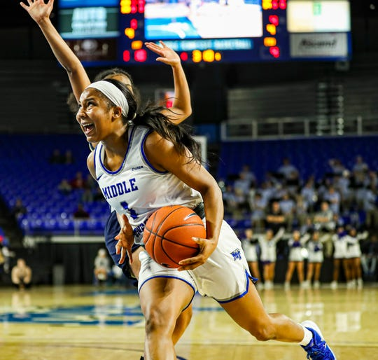 MTSU's Anastasia Hayes (1) drives to the basket against FIU. Hayes finished with 15 points against the Panthers on January 18, 2019.