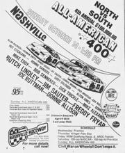 "An advertisement that appeared in 1984 in The Tennessean promoting the All-American 400 at Nashville Fairgrounds Speedway. The race was billed as ""Civil War on Wheels."""