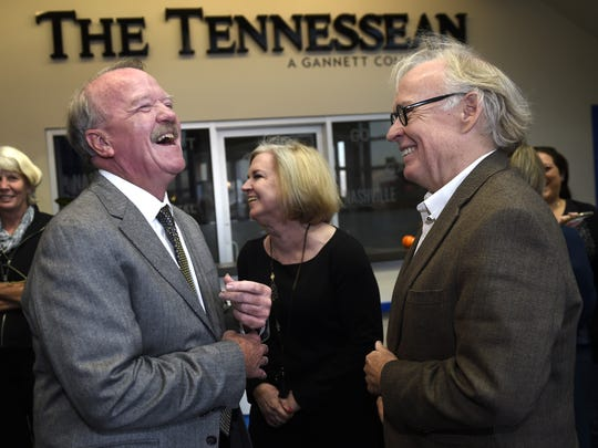 Tennessean sports columnist David Climer, left, shares a laugh with his wife, Rebecca, and Berry Holt during his retirement reception at The Tennessean offices in 2015. Climer died Sunday, Jan. 19, 2019, in Nashville after a battle with cancer.