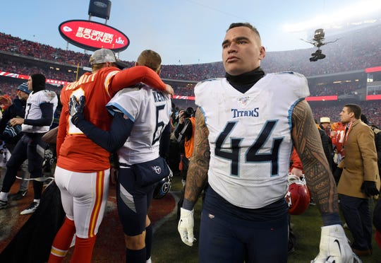Tennessee Titans outside linebacker Kamalei Correa (44) walks off the field after the team's 35-24 loss to the Kansas City Chiefs in the AFC Championship game at Arrowhead Stadium Sunday, Jan. 19, 2020 in Kansas City, Mo.