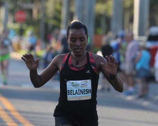 Kaitlin Goodman, Providence RI, won the Naples Daily News Half Marathon with a time of 1:13:51.59. Belainesh Gebre, Flagstaff AZ, (1:14:07.38) took second place as  Annmarie Tuxbury, New Hartford CT, (1:14:17.57) finished third, Bria Wetsch, Broomfield CO, (1:14:33.70) finished fourth, and Stephanie Pezzullo, Ocala FL, (1:16:36.99) finished 5th.
