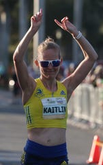 Kaitlin Goodman brought home a win in the Naples Daily News Half Marathon female division, clocking a time of 1:13.52.