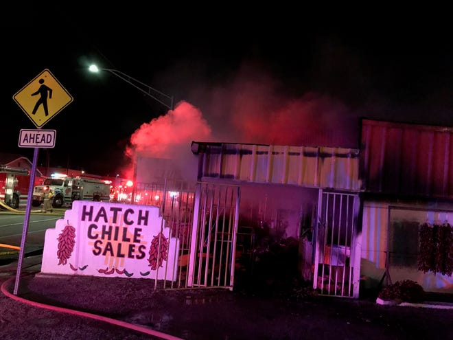 A fire in the 200 block of West Hall Street in Hatch on Saturday, Jan. 18, 2020, destroyed a residential and commercial building.