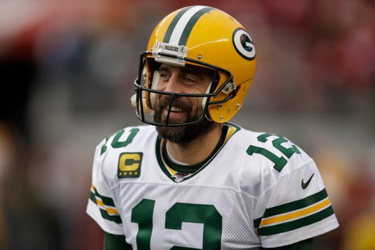 Green Bay Packers quarterback Aaron Rodgers (12) warms up before the NFL NFC Championship football game against the San Francisco 49ers Sunday, Jan. 19, 2020, in Santa Clara, Calif. (AP Photo/Ben Margot)