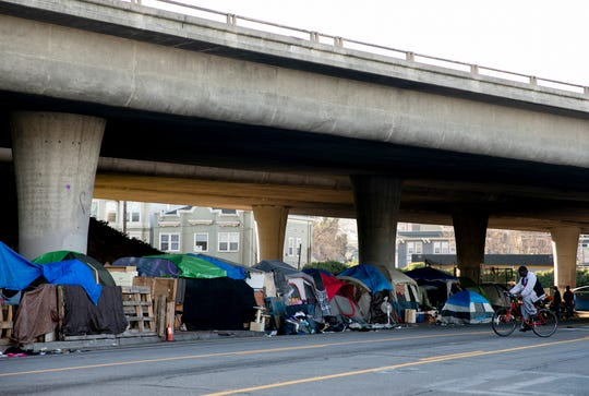 A tent encampment off of Grand Avenue in Oakland.