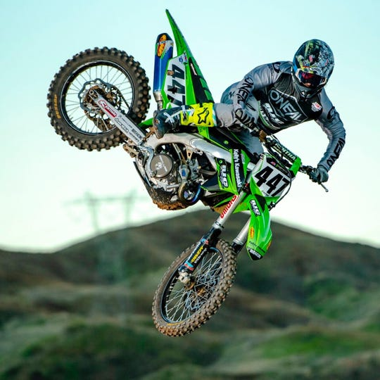 """Mesa, Ariz. native, Deven Raper, takes flight on his No. 447 bike. Raper missed most of the 2019 racing season after suffering a broken pelvis and two broken vertebrae in a preseason crash. """"I'm fully healthy, (and) just trying to get the momentum and confidence back to just go out there and kill it,"""" Raper said."""