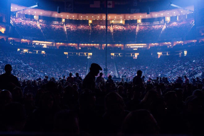 Audience members wait for Tool to take the stage at Gila River Arena on Jan. 18, 2020 in Glendale.
