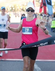 Tara Kaur wins the marathon for the Elite Female runners during the Humana Rock 'n' Roll Marathon in Tempe on Jan. 19, 2020.