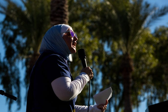 Phoenix attorney Deedra Abboud speaks to thousands of people at the Women's March Phoenix Rally outside of the Arizona State Capitol on Jan. 19, 2020.