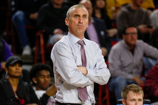 Arizona State Sun Devils head coach Bobby Hurley stares at a referee against the Utah Utes on Jan. 18, 2020 at Desert Financial Arena in Tempe, AZ. (Brady Klain/The Republic)