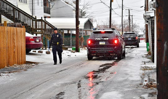 York City Police work to clear the scene of a shooting near Chestnut Street in York City, Saturday, Jan. 18, 2020. Dawn J. Sagert photo
