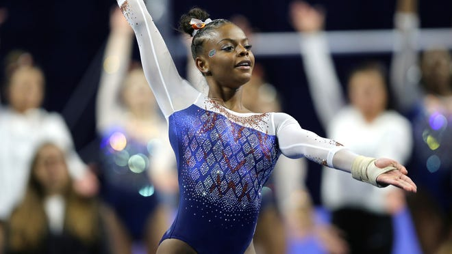 Former West York High School athlete Trinity Thomas, seen here in a file photo, has turned in two perfect 10.0 scores this season for the Florida Gators gymnastics team.