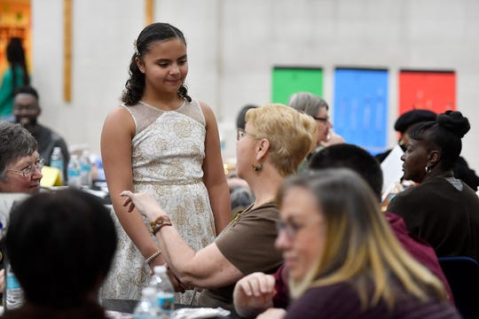 Lincoln Charter School student ambassador Serenity Real greets guests during the 8th annual MLK Sunday Supper, Sunday, January 19, 2020, John A. Pavoncello photo