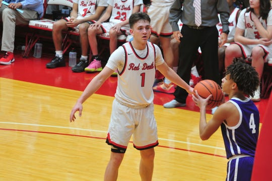 Andrew Kroft (1) scored a game-high 19 points and corralled a career-high 16 rebounds to go along with seven steals in Richmond's 79-44 win over Northmont (Ohio) on Saturday, Jan. 18, 2020.