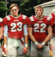 Tyler Bell, left, and Jake Schojan, friends since middle school, played on the Canandaigua Academy football team.