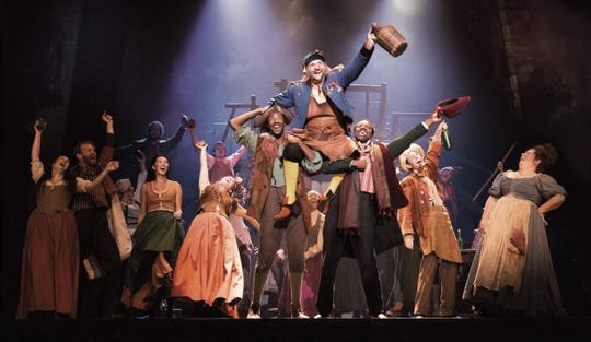"The cast of ""Les Miserables"" including Jimmy Smagula, top, in the role of Thenardier."