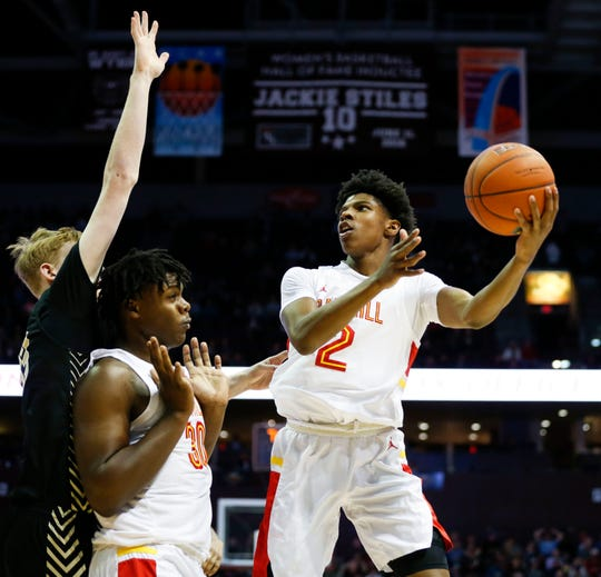 Oak Hill Academy's K.K. Robinson looks to shoot a field goal in the championship game of the Bass Pro Shops Tournament of Champions against Paul VI at JQH Arena on Saturday, Jan. 18, 2020.