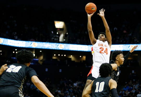 Oak Hill Academy's Cam Thomas shoots a field goal in the championship game of the Bass Pro Shops Tournament of Champions against Paul VI at JQH Arena on Saturday, Jan. 18, 2020.