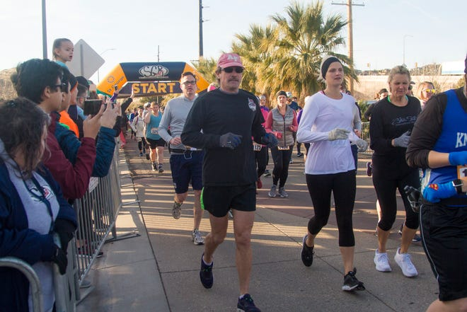Runners gather near the Dixie Convention Center for the St. George Half Marathon and 5K Saturday, Jan. 18, 2020. St. George earned statewide recognition this week for its efforts to get its 50-and-older population to live healthy lifestyles.