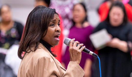 Evelyn Smiley rehearses with the Tulare-Kings Counties Mass Choir on Saturday, January 18, 2020. They are celebrating their 30th year.