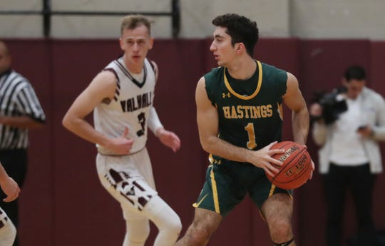 Hastings defeated Valhalla 74-59 in boys basketball action at the Kensico Middle School in Valhalla Jan. 18, 2020.