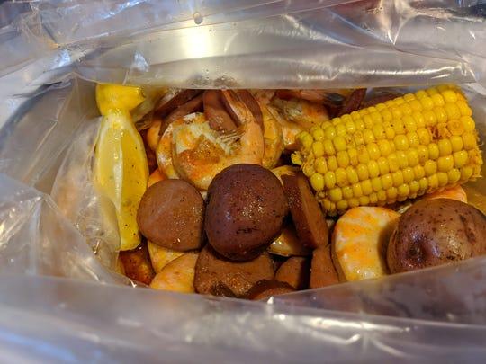 Shrimp and sauage combo at Crab Kingdom.