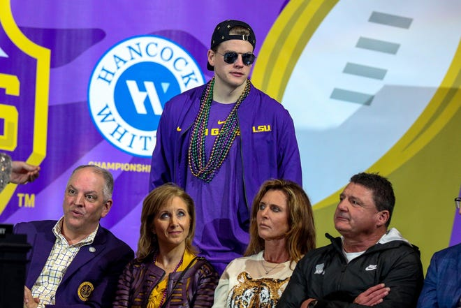 LSU Tigers quarterback Joe Burrow during Saturday's on-campus celebration.
