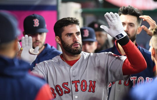 J.D. Martinez hit .304 with 36 home runs and 105 RBI for the Red Sox in 2019.