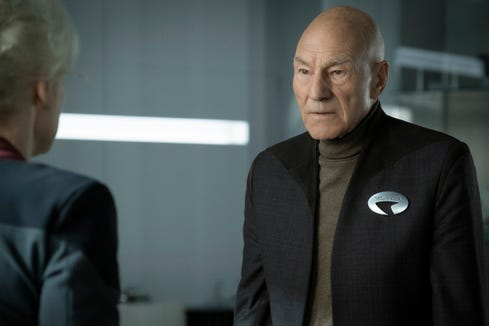 "Patrick Stewart as Jean-Luc Picard on ""Star Trek: Picard."""