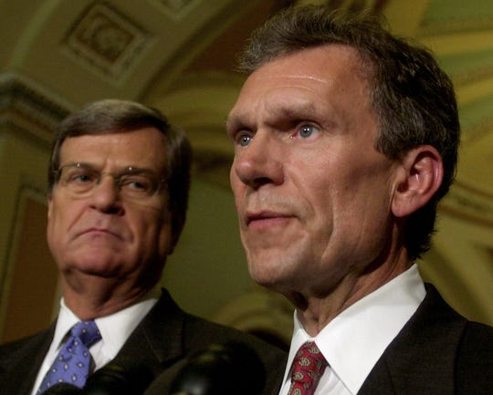 Senate leaders Trent Lott, left, and Tom Daschle met with reporters in the Capitol two days after the 9/11 terrorist attacks in New York, Washington and Pennsylvania. ,