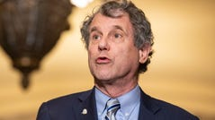 Sen. Sherrod Brown, D-Ohio, makes a statement following the Democratic Party luncheon on Capitol Hill in Washington, Nov. 13, 2019.