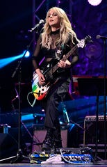 Lindsay Ell performs with her band at Saturday's Rehab 2020 telethon.