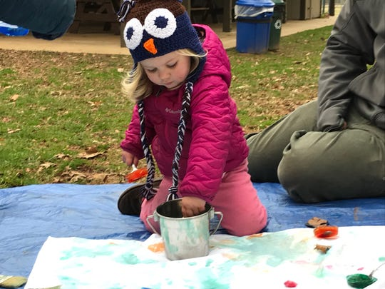 Some Tinkergarten goals include painting the sky, making a fictional dish called stone soup, and completing scavenger hunts.