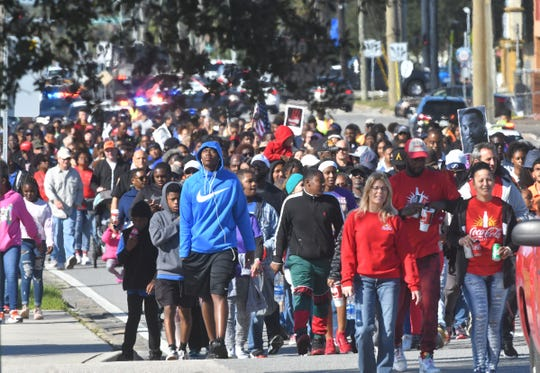 The 2020 Melbourne Martin Luther King, Jr. Peace March. Hundreds began walking from University Blvd., to Babcock Street, to Hibiscus Blvd. to the Melbourne Auditorium, where further events were held.
