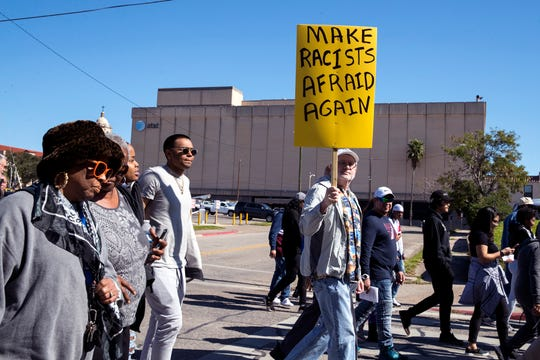 A sea of people march from the Nueces County Courthouse to the Church of the Good Shepherd during the 34th annual Dr. Martin Luther King, Jr. Commemorative March on Monday, January 20, 2020.
