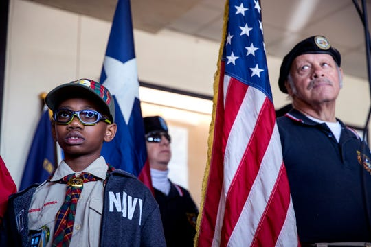 Opening ceremonies are held at the start of the 34th annual Dr. Martin Luther King, Jr. Commemorative March on Monday, January 20, 2020. Billy Williams, 10, gave the Pledge of Allegiance and members of the Veterans Band of Corpus Christi participated in the ceremony.