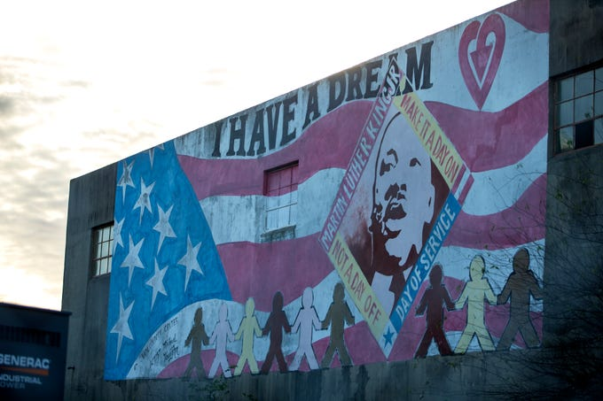 The 'I Have a Dream' mural in honor of Dr. Martin Luther King Jr. is on the side of a building at 716 N. Alameda Street. It was painted in 2005 by Michael and Diana Vaughn.