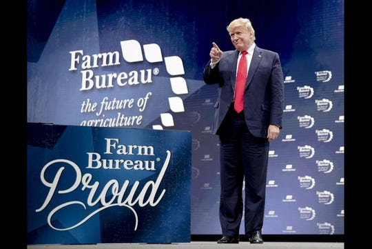 President Donald Trump speaks at the American Farm Bureau Federation's convention Sunday at the Austin Convention Center.