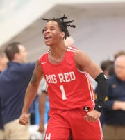 Hughes guard Jaesean Martin reacts during their basketball game against Moeller at the King Classic, Sunday, Jan. 19, 2020.