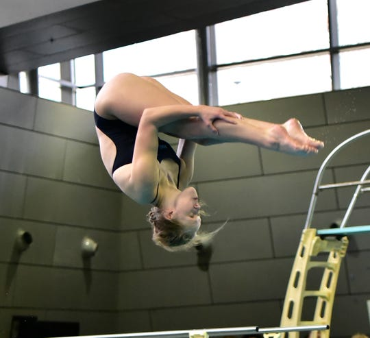 Mount Notre Dame's Sarah Krusinski took home second place in the girls diving competition at the 2020 Southwest Ohio Swimming and Diving Classic, Jan. 19, 2020.